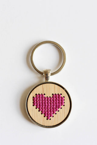 Heart Keychain DIY Cross Stitch Kit