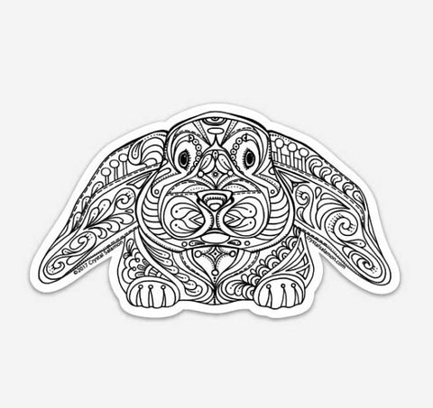 Bunny Vinyl Colouring Sticker