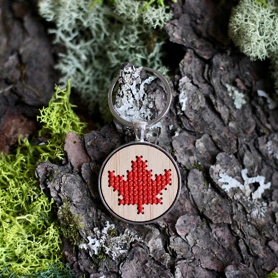 Maple Leaf Keychain DIY Cross Stitch Kit