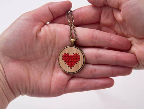Heart Necklace DIY Cross Stitch Kit