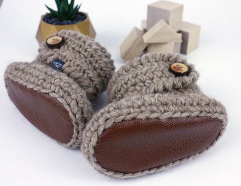 Camel Tan Baby Booties Leather Sole