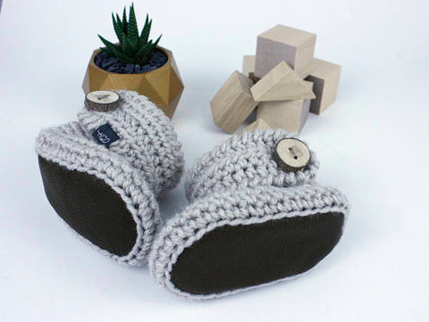 Light Grey Baby Booties with Leather Soles