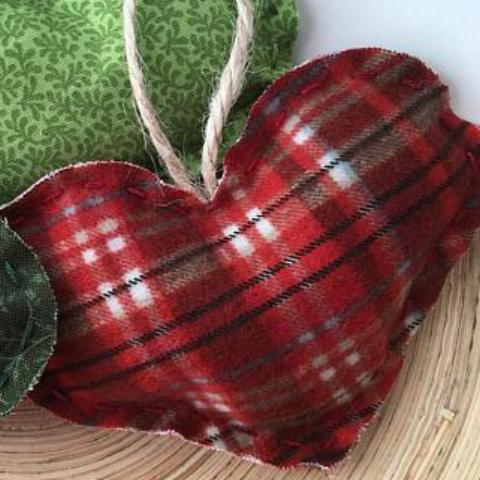 Fabric Heart Ornaments - Set of 3