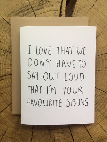 Fave Sibling Card