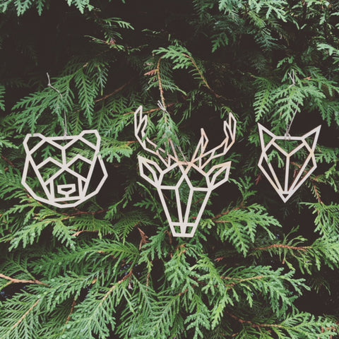 Wood Animal Head Ornaments