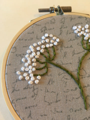 Queen Anne's Lace Mini Embroidered Hoop