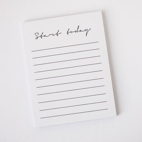 Start Today White Notepad