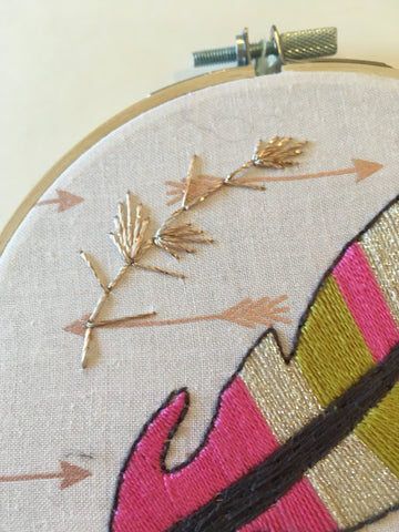 Feather Mini Embroidered Hoop