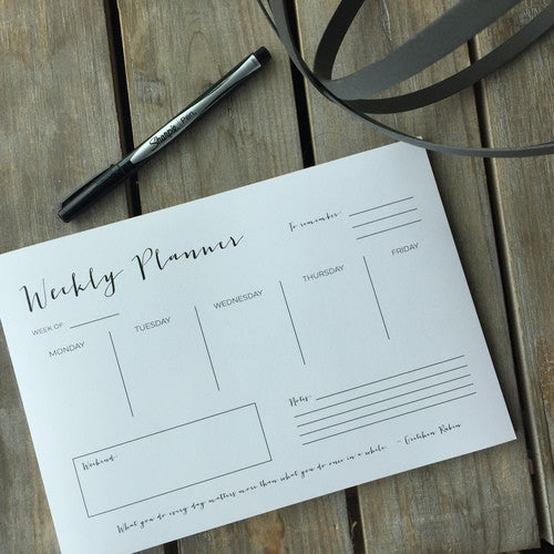 Weekly Planner White Notepad