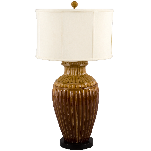 Fluted Pottery Table Lamp - Coastal Cottage Home