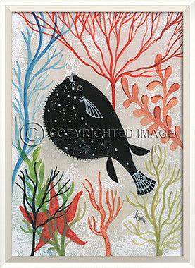 Sea Creature Silhouette Puffer Fish Art - Coastal Cottage Home