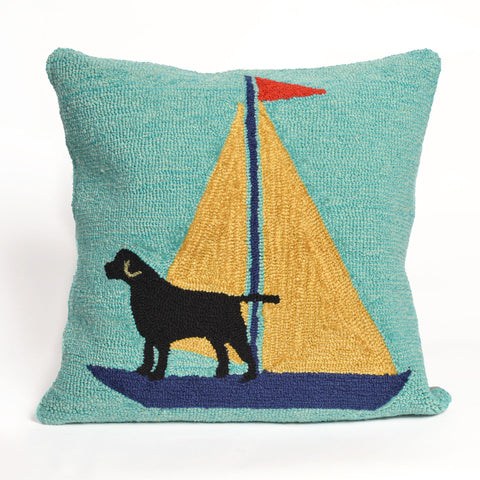 Sailing Dog Yellow Pillow - Coastal Cottage Home