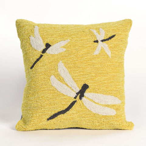 Dragonfly Yellow Pillow - Coastal Cottage Home
