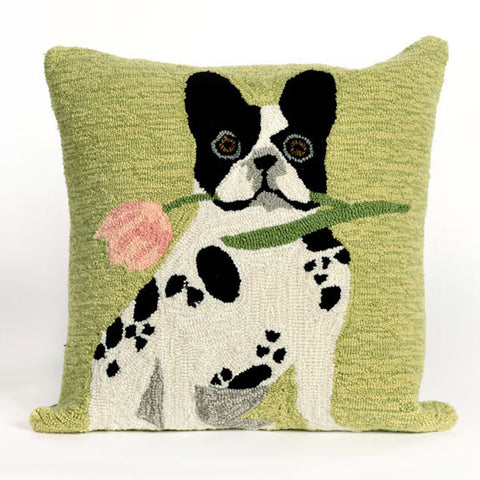 French Bulldog Green Pillow - Coastal Cottage Home