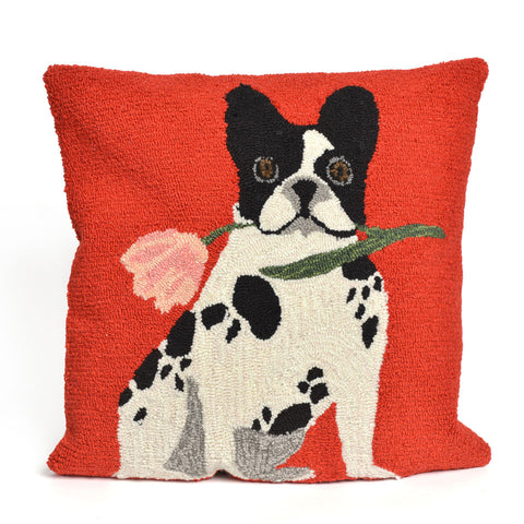 French Bulldog Red Pillow - Coastal Cottage Home