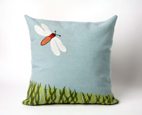 Dragonfly Aqua Pillow - Coastal Cottage Home