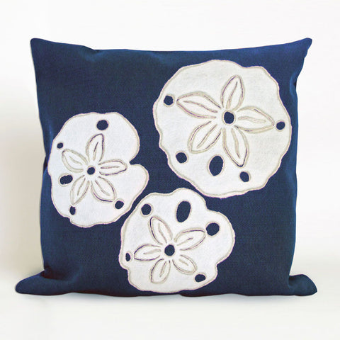 Sand Dollar Navy Pillow - Coastal Cottage Home