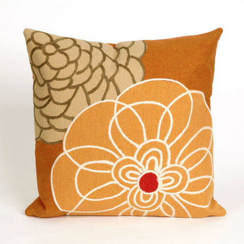 Disco Flower Orange Pillow - Coastal Cottage Home