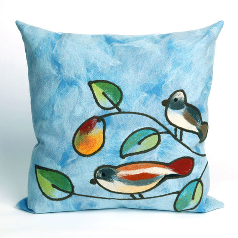 Songbirds Blue Pillow - Coastal Cottage Home
