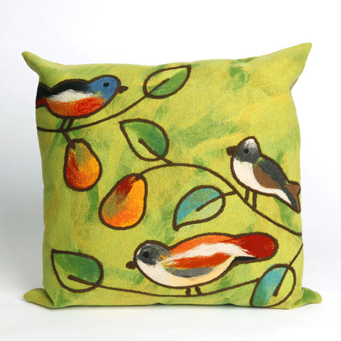 Songbirds Green Pillow - Coastal Cottage Home