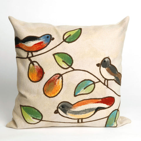 Songbirds Brown Pillow - Coastal Cottage Home