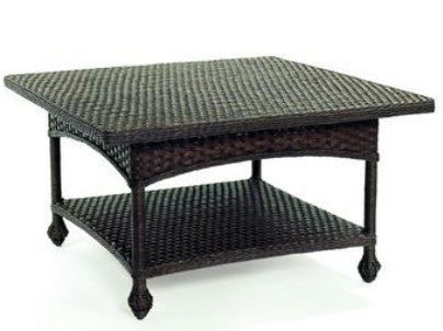 Square Wicker Cocktail Table Black - Coastal Cottage Home