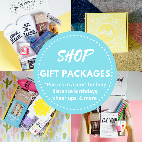 Shop party in a box gift packages from The Confetti Post