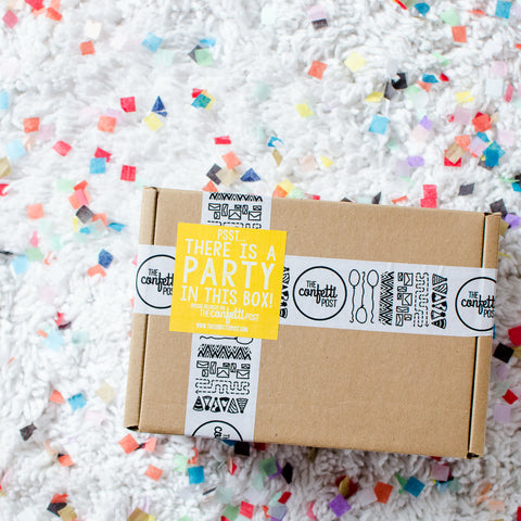 Fun Birthday Care Package packaging by The Confetti Post