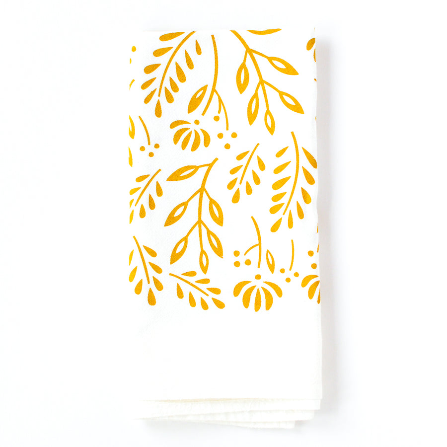 Golden Yellow Floral Tea Towel