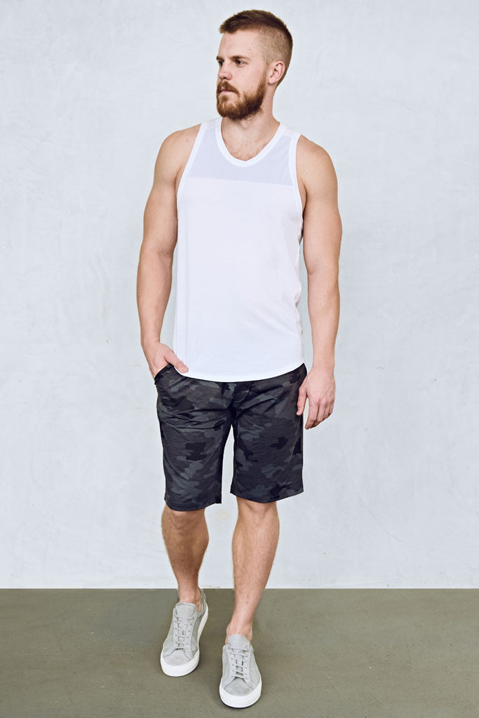 a46384f3 ... Mens 11-Inch Shorts in Grey Camo with Black Waistband by EYSOM