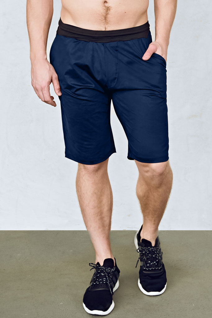 b1848563 Mens 11-Inch Training Shorts in Navy Blue with Black Waistband by EYSOM ...