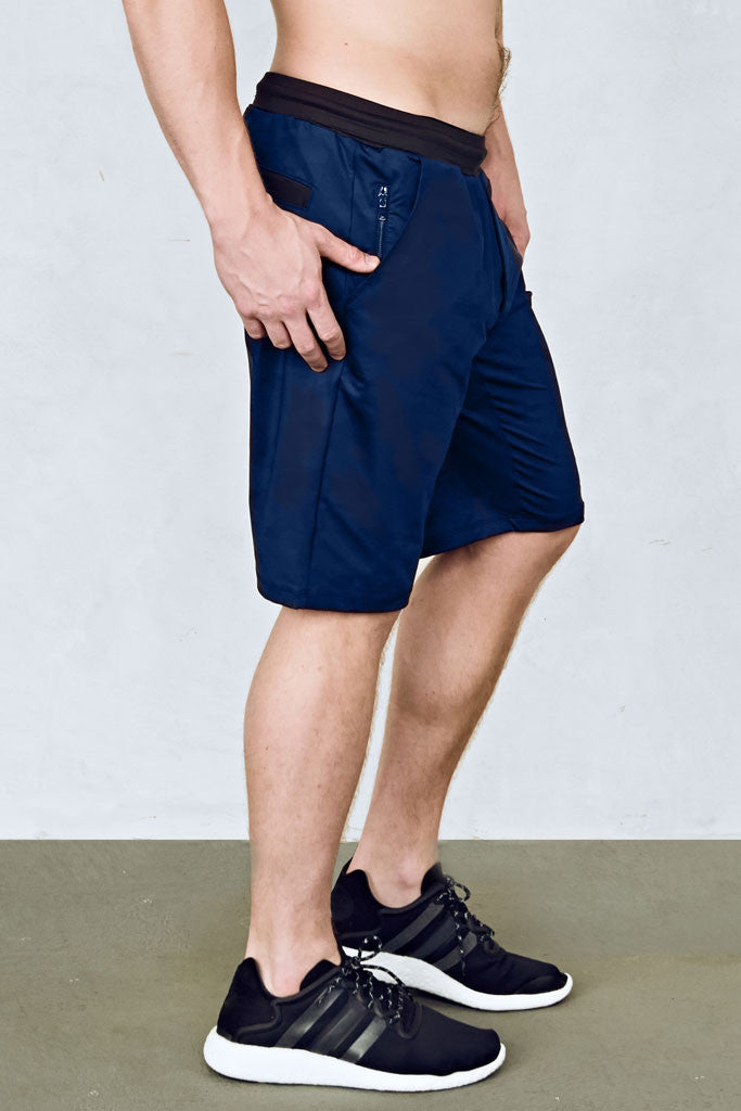 27873903 ... Mens 11-Inch Training Shorts in Navy Blue with Black Waistband by EYSOM  ...