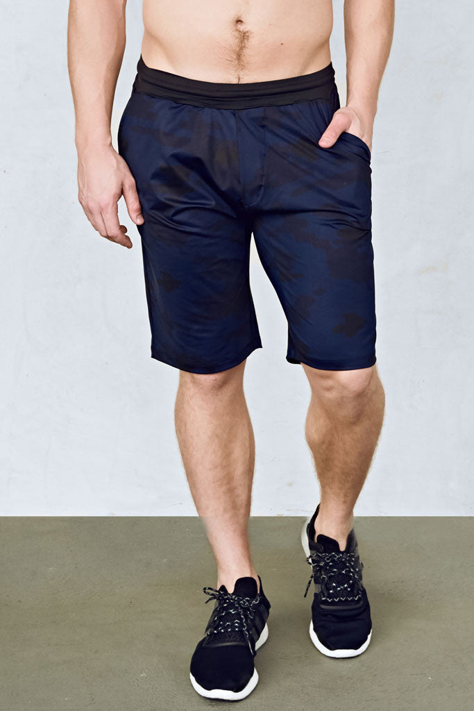 Mens 11 Inch Training Shorts in Navy Camo with Black Waistband by EYSOM