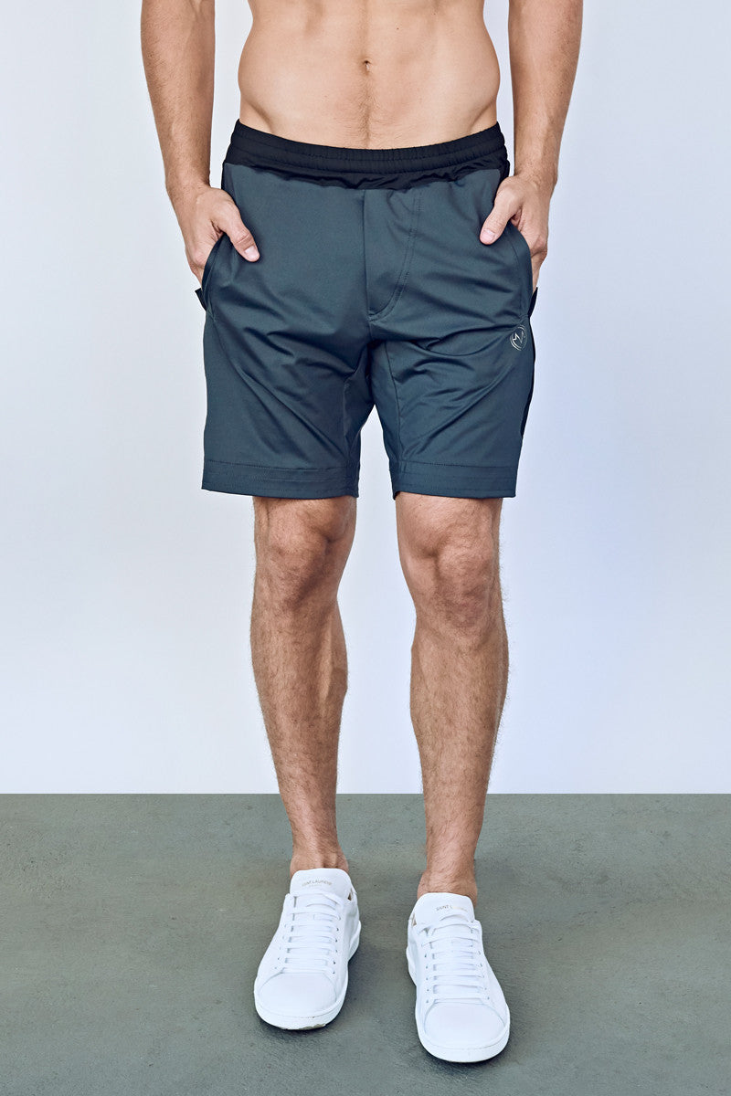 EYSOM Men's Charcoal and Black Colorblock 8-Inch Training Shorts
