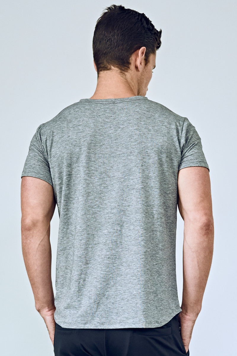EYSOM Men's Heather Grey Short Sleeve Foundation Scoop Neck Tee