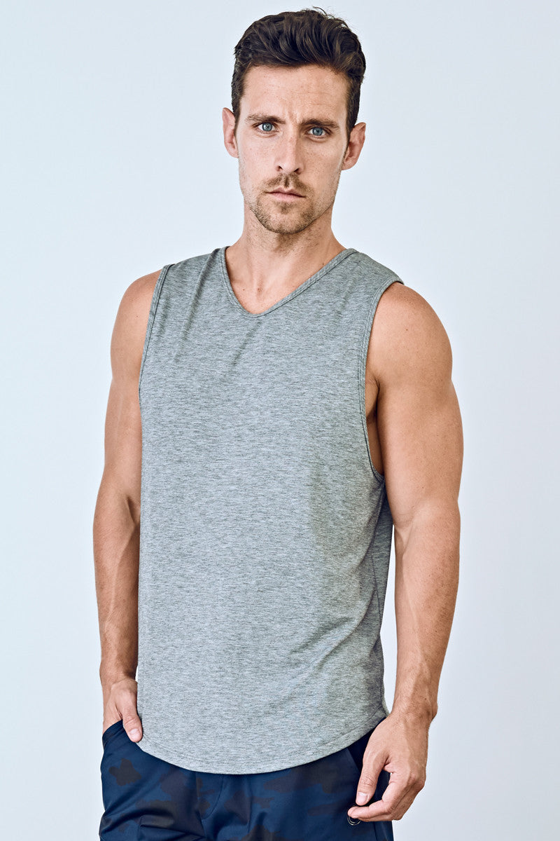 EYSOM Men's Grey Standard Muscle Tee