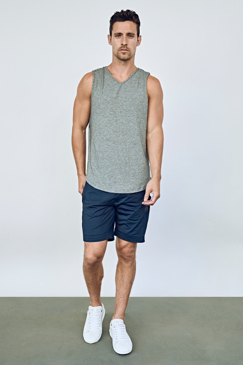 7a69744724 ... EYSOM Men's Navy and Black Colorblock 8-Inch Training Shorts ...