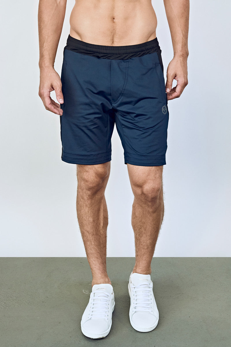 EYSOM Men's Navy and Black Colorblock 8-Inch Training Shorts