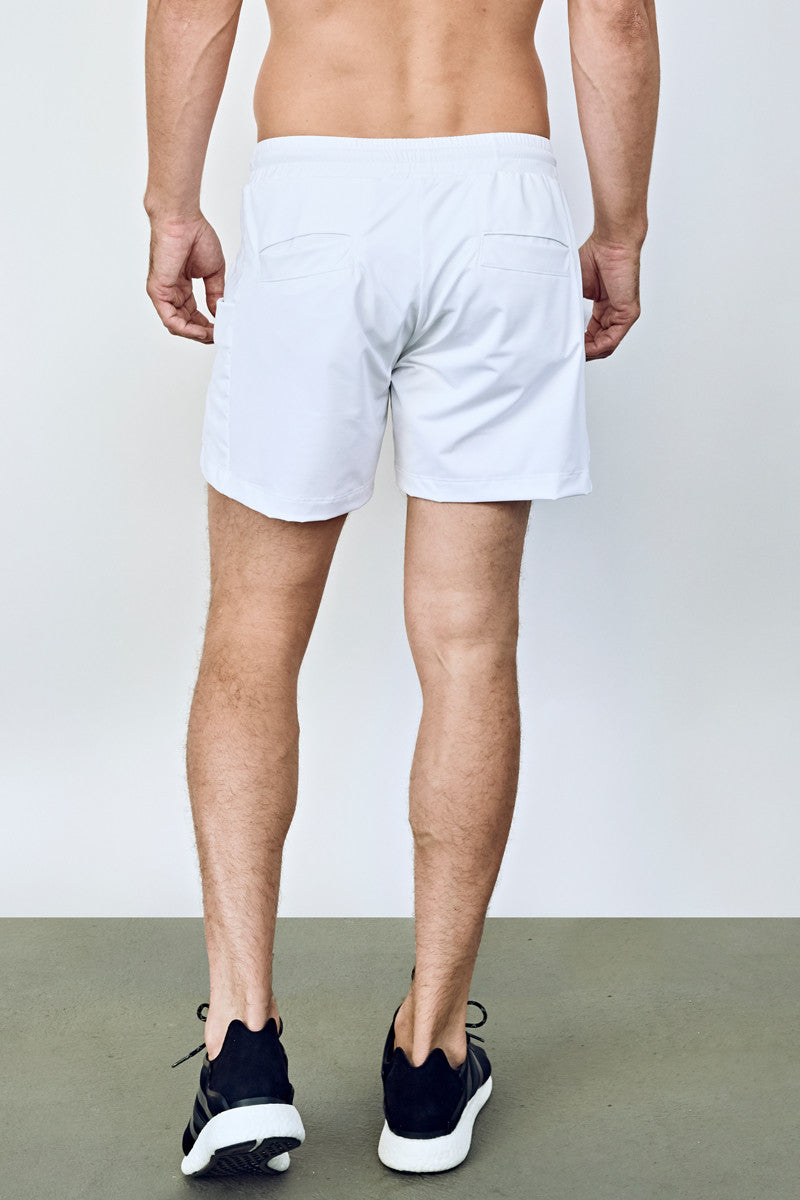 "Men's Lined Workout Short | 5"" Training Short (White)"