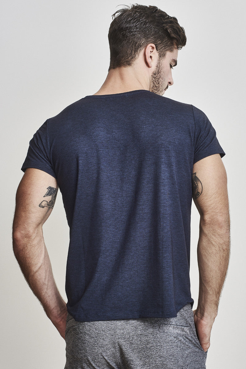 EYSOM Men's Navy Blue Short Sleeve Foundation Scoop Neck Tee