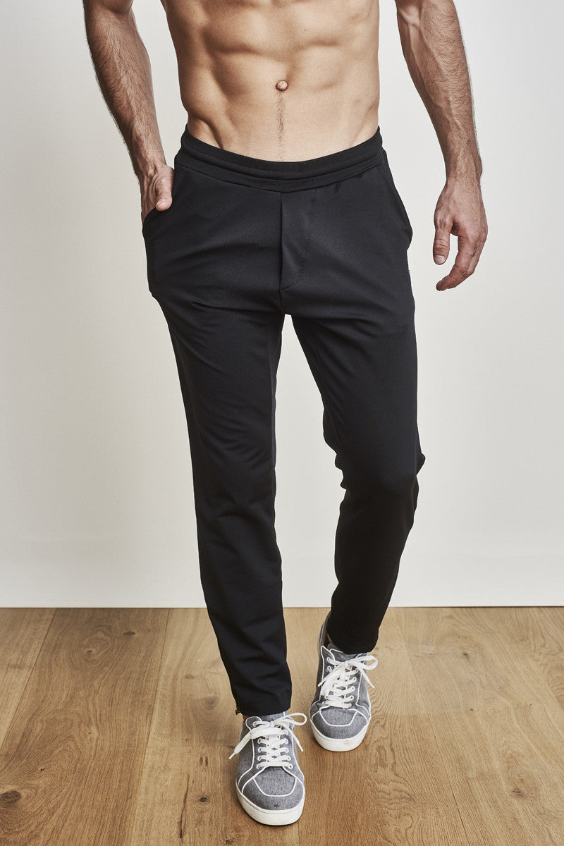EYSOM Men's Black Slim Zip Pants