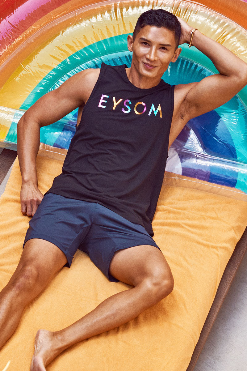 EYSOM 6.5-Inch Performance Short in Navy on Model Relaxed View