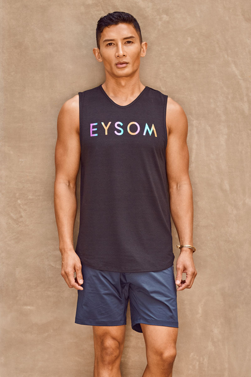 EYSOM 6.5-Inch Performance Short in Navy on Model Front View
