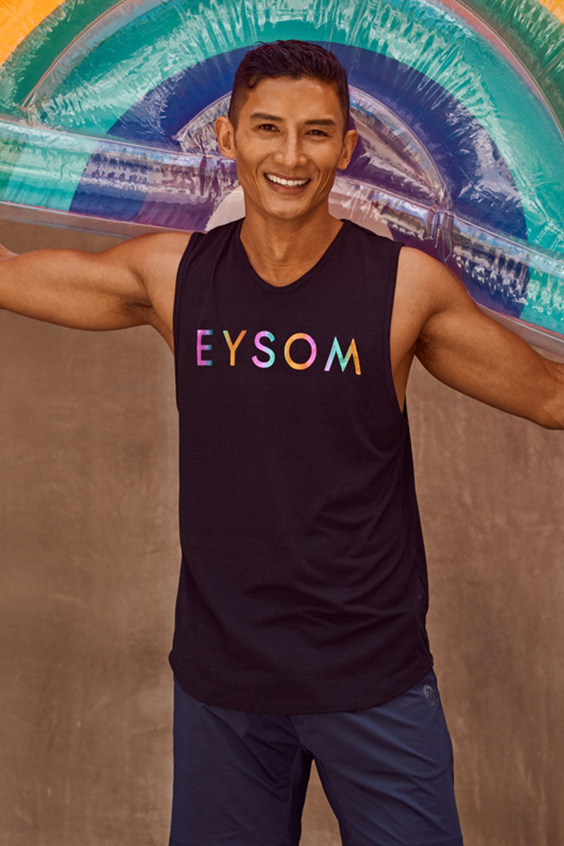 EYSOM Standard Muscle Tee in Black with Rainbow Foil Logo on Model with Rainbow Floaty