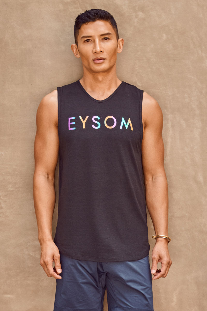EYSOM Standard Muscle Tee in Black with Rainbow Foil Logo on Model Front View