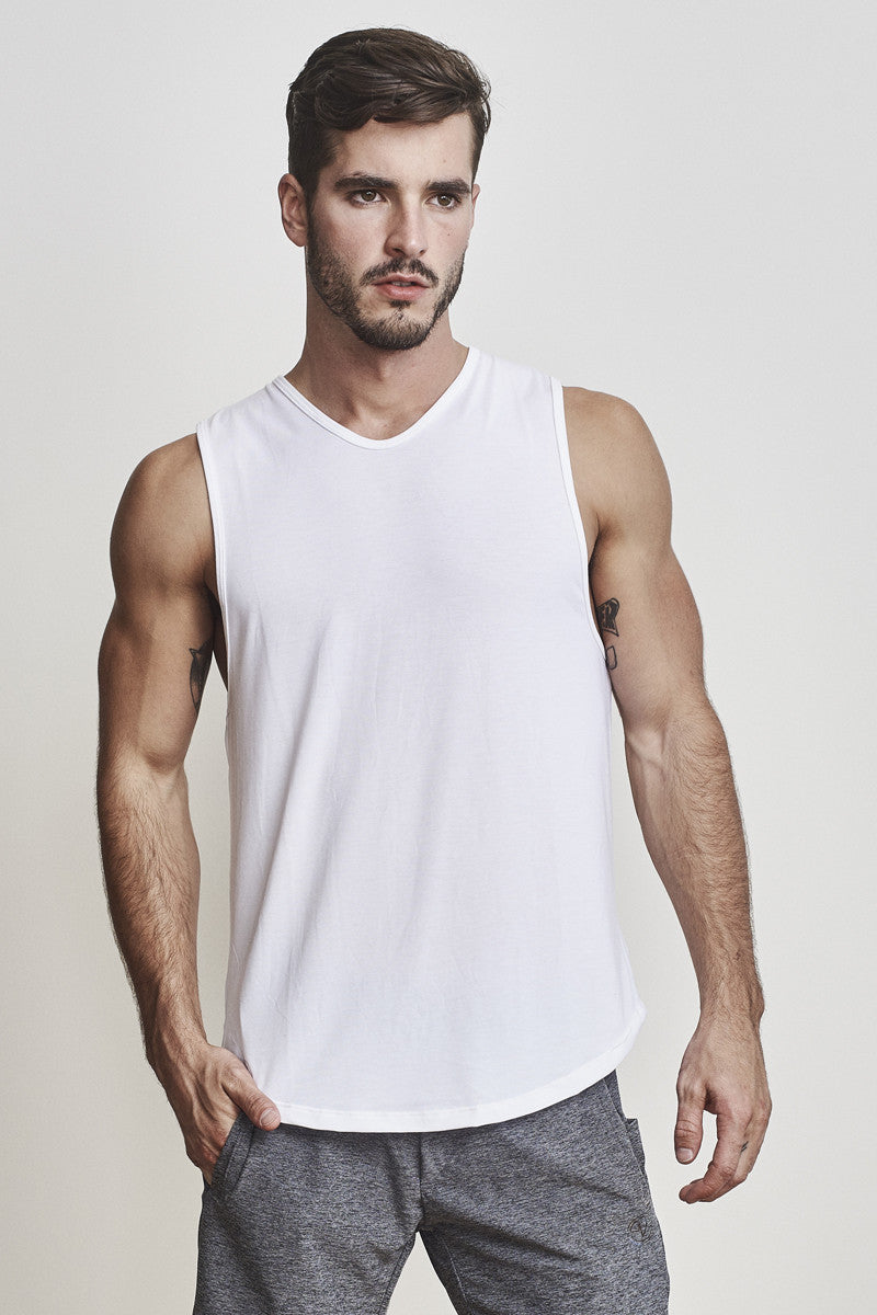 EYSOM Men's White Standard Muscle Tee