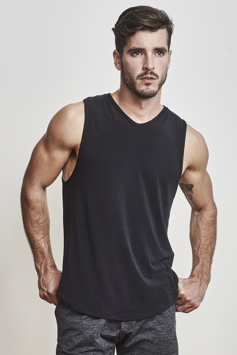 EYSOM Men's Black Standard Muscle Tee
