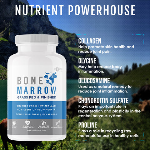 Grass Fed Beef Bone Marrow Supplement – (200 Count) Bone, Cartilage and Marrow. New Zealand Sourced. Better Than Bone Broth. Watch Product Video for Details
