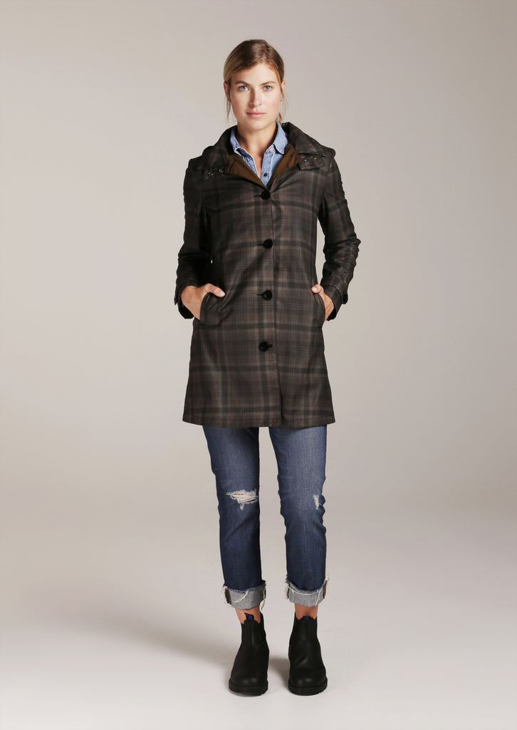 QUEEN ANNE TRENCH | Brown Tartan