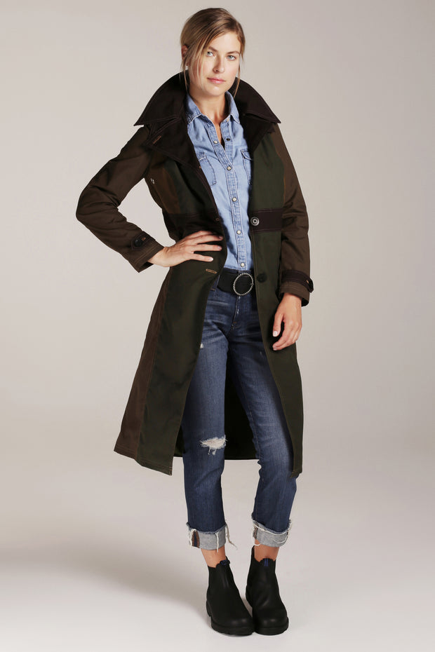 WOMEN'S MIDI URBAN TRENCH | Earthy Color Block - FELLER